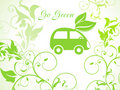 Abstract green eco background with car Stock Photo