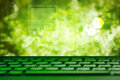 Abstract green eco technolgy business concept with keyboard Royalty Free Stock Photo