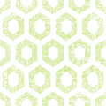 Abstract green fabric textured honeycomb cutout seamless pattern background vector Stock Images