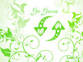 Abstract green floral background with refresh icon Stock Image