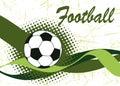 Abstract green football waves and ball.Horizontal football Royalty Free Stock Photo