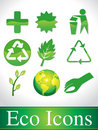 Abstract green glossy eco icons Royalty Free Stock Photo