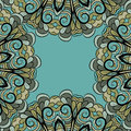 Abstract green gray frame floral elements cyan background Royalty Free Stock Image