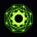 Abstract green neon shape, futuristic wavy fractal of star Royalty Free Stock Photo