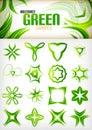 Abstract green pattern shapes set Royalty Free Stock Photo