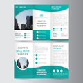 Abstract Green polygon trifold Leaflet Brochure Flyer template design, book cover layout design Royalty Free Stock Photo