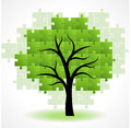 Abstract green puzzle tree shape Royalty Free Stock Photos