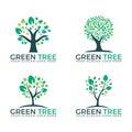 Abstract green trees set logo vector designs.