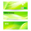 Abstract green wave banners, vector Royalty Free Stock Photo