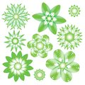 Abstract green and white modern floral ornament collection Royalty Free Stock Photo