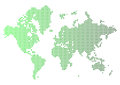 Abstract green world map made of dots. Royalty Free Stock Photo