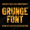 Abstract grunge alphabet font. Distressed uppercase letters and numbers on halftone background.