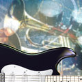 Abstract grunge background with electric guitar black and musical instruments Royalty Free Stock Photos