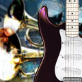Abstract grunge background with electric guitar and musical instruments Royalty Free Stock Photos