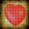 Abstract grunge beige yellow matting and red heart picture on background Royalty Free Stock Photo
