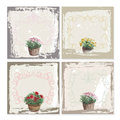 Abstract grunge frame set, garden flowers watercolor. Black and white Background template. Vector