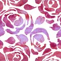 Abstract grunge ink flower background. Roses pink brush seamless pattern. Watercolor illustration. Royalty Free Stock Photo
