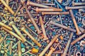 A bunch of old screws of nuts and washers Royalty Free Stock Photo