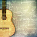 Abstract grunge music background with acoustic guitar Royalty Free Stock Photo