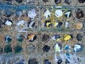 Abstract Grunge Paint Marks on Flint and Cement Wall Royalty Free Stock Photo