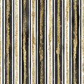 Abstract grunge seamless pattern with golden glittering acrylic paint stripes on black and white striped background Royalty Free Stock Photo