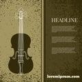 Abstract grunge vintage sound background with violin design eps