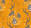 Abstract grungy seamless pattern. Trees and monkeys Royalty Free Stock Photo