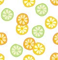 Abstract Half Cut Fruits Vector Pattern. White Background.