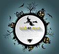 Abstract Halloween background  with  graveyard, witch, pumpkin Royalty Free Stock Photo