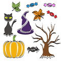Abstract halloween symbol set with tree cat candy pumpkin spider and witch hat Royalty Free Stock Image