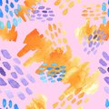Abstract hand drawn brush strokes and paint splashes textures, seamless watercolor pattern Royalty Free Stock Photo