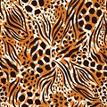 Abstract Hand Drawn Combined Animal Skin Vector Seamless Pattern. Beige, Orange, Brown Fur. Trendy Fashion Print
