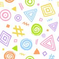 Abstract hand drawn cute geometrical shapes seamless pattern