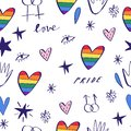 Abstract hand drawn doodles seamless pattern. Pride, love and peace lettering, rainbow hearts. Gay parade wallpaper. LGBTQ rights