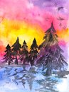 Abstract hand painted watercolor landscape with winter nature. Hand drawn picture on paper. Bright artistic painting. Royalty Free Stock Photo