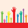Abstract hands a set of colourful hand silhouettes Royalty Free Stock Photo