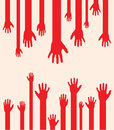 Abstract hands a set of red hand silhouettes Royalty Free Stock Images