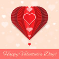 Abstract heart air ballon valentines day greeting flat colors paper on seamless sky pattern card template Stock Images