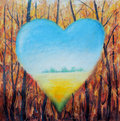 Abstract heart on the background of the forest, hope, love Royalty Free Stock Photo