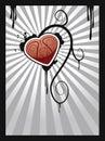 Abstract heart on ray burst Royalty Free Stock Photo