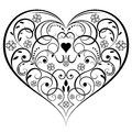 Abstract heart shaped ornament isolated on white background Stock Photo