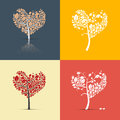 Abstract heart shaped trees on retro background set orange red yellow and blue backgrounds Stock Photography