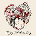 Abstract heart st valentine s day greeting card Stock Images