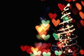 Abstract hearts background from the christmas lights Stock Photography