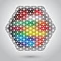 Abstract hexagon lights colorful background Stock Photo