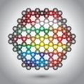 Abstract hexagon lights colorful background Stock Photography