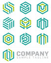 Abstract hexagon logo and design elements set of ten shaped vector symbols Royalty Free Stock Images