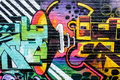 Abstract hifi and speaker horn graffiti a musical showing a device shoreditch london uk Royalty Free Stock Photo