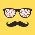 Abstract hipster glasses with mustache illustration Royalty Free Stock Images
