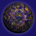 Abstract hollow sphere, chip, microcircuit, silicon chip, microchip Royalty Free Stock Photo